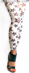 Zebra Print Star Pattern Footless Tights by Celeste Stein