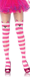 Cheshire Cat Tights in Pink and White Stripes