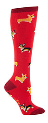 Corgi Pattern Knee High Socks in Red