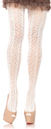 Lace Pattern Crochet Tights in Ivory