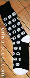 Dieselsweeties Pixel Skull Novelty Fun Cotton Knee High Knee Socks