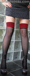 Black Thigh High Fishnet Stockings with Red and Black Striped Top