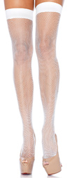 Sexy Fishnet Thigh Highs - White
