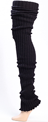 Black Thigh High Leg Warmers - Ribbed Black Leg Warmers