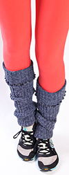 Denim Blue Leg Warmers with Cable Knit Pattern