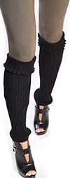 Black Leg Warmers with Cable Knit Pattern