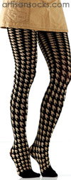 Black and Tan Houndstooth Pattern Tights