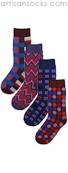 Funky Fuchsia 4 Pair Socks Set by Project Runway Winner Jay McCarroll