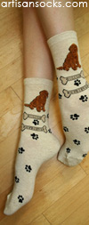 K. Bell Oatmeal Golden Retriever Crew Socks