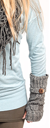 Knit Arm Warmers with Thumb Hole - GRAY