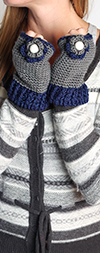 Fingerless Gloves with Knit Flowers - GRAY / BLUE