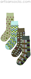Groovy Green Unisex Socks - Retro Patterned 4 pack Trouser Socks