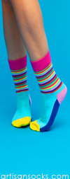 Happy Socks Aqua and Multi Color Striped Crew Socks