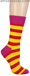 Happy Socks Pink and Orange Multi Colored Striped Crew Socks