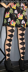 Hansel From Basel Nude and Black Diamond Pattern Stockings