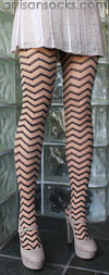 Hansel From Basel Nude and Black Zig Zag Pattern Stockings