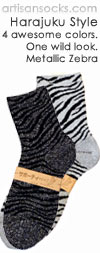 Japanese Snug Fit Metallic Zebra Print Anklet / Ankle Socks