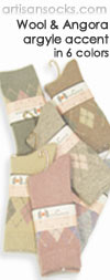 Japanese Argyle Accent Angora and Wool Crew Socks (Calf Socks)