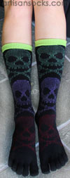 K. Bell 5 Toe Socks- Multicolor Skull Socks with Toes