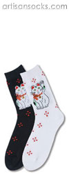 K. Bell Lucky Cat - White Cotton Crew Socks (Calf Socks)