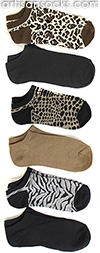 Safari Animal Heathered Ankle Socks by K. Bell - 6 Pack