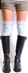 Light Blue Over the Knee Socks with Antique Lace Trim by K. Bell