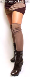 Double Layered with Ruched Knee OTK Socks - Brown