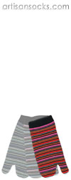 K. Bell Striped Split Toe Socks - Pink Multicolor Cotton Tabi Socks