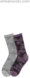 K. Bell Space Dyed Floral Tapestry - Blue / Purple Cotton Crew Socks
