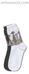 Cat Family Black Cotton Crew Socks