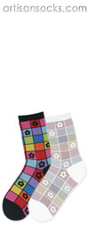 K. Bell Mosaic Flower Socks - Black Cotton Floral Crew Socks