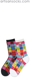 K. Bell Mosaic Flower Socks - White Cotton Floral Crew Socks