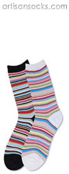 Multicolor and Metallic Striped Mini Crew Socks