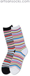 K. Bell Multicolor and Metallic Striped Mini Crew - White Crew Socks