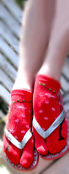 K. Bell Cherry Blossom Tabi - Red Cotton Floral Print Split Toe Socks