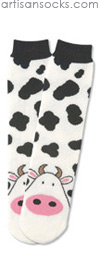 K. Bell Tubular Cow Socks - Animal Print Crew Socks