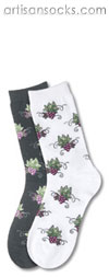 K. Bell Grape Clusters - Black Floral Cotton Crew Socks (Calf Socks)
