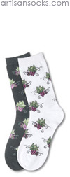 K. Bell Grape Clusters - White Cotton Floral Crew Socks (Calf Socks)