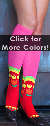 K. Bell Tulip Stripe Knee High - Fuschia Cotton Floral Knee High Knee Socks