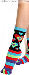 K. Bell Striped Toe Socks with Hearts and Flowers