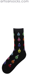 K. Bell Peace Ornaments Holiday Cotton Crew Socks (Calf Socks)