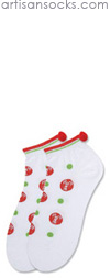 K. Bell Candy Cane Dotted Socks - White Cotton Holiday Socks (Footies)