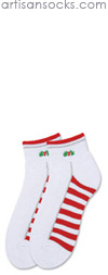 K. Bell Holly Berry Quarter Socks - Red and White Striped Cotton Holiday Socks