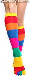 Rainbow Striped Knee High Toe Socks by K. Bell