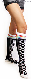 Black Knee High Shoe Socks with Rainbow Stripes by K. Bell
