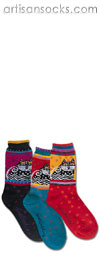 K. Bell Laurel Burch Polka Dot Cat - Black Cotton Socks