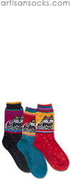 K. Bell Laurel Burch Polka Dot Cat - Red Cotton Crew Socks