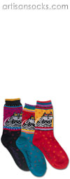 K. Bell Laurel Burch Polka Dot Cat - Turquoise Cotton Crew Socks