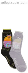 K. Bell Laurel Burch Rainbow Cats - Black Cotton Crew Socks (Calf Socks)