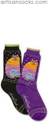 K. Bell Laurel Burch Rainbow Cats - Purple Cotton Crew Socks (Calf Socks)